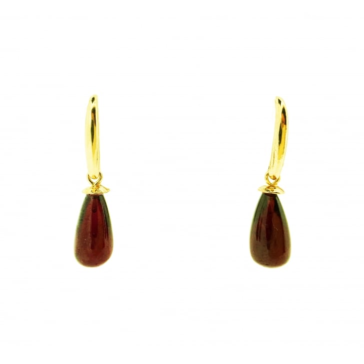 Garnet Drop earrings in Yellow Gold