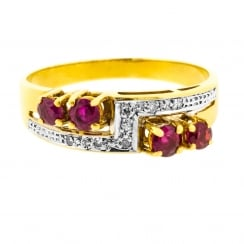 Geometrical Diamond and Ruby Ring