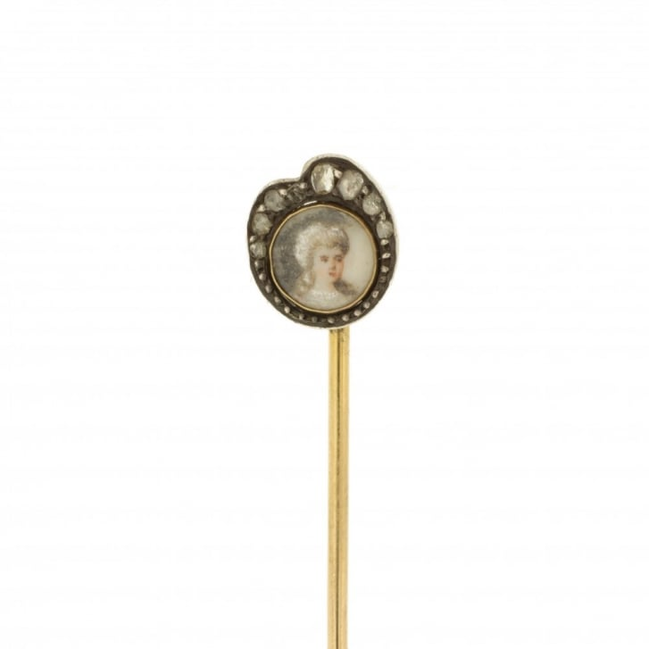 Georgian Memorial Pin with a Lady's Portrait