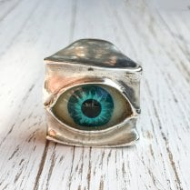 Glass Eye Sculptural Ring in Silver