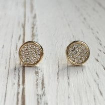 Gold and CZ Pave Disc Stud Earrings