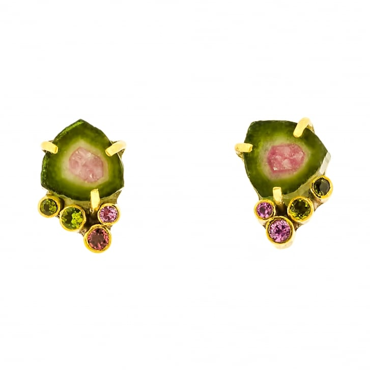 Rybarova Gold and Silver Stud Earrings With Watermelon Tourmaline