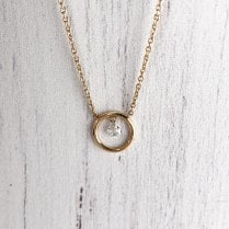 Gold Circle with a Diamond Charm Necklace