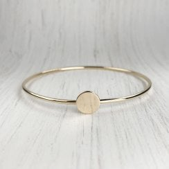 Gold Disc Wire Bangle
