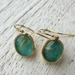 Gold Plated Oval Earrings with Turquoise and Rutilated Quartz