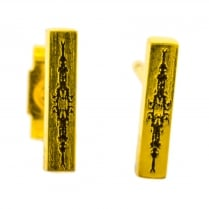 Gold Plated Silver Bar Stud Earrings with Oxidised Details