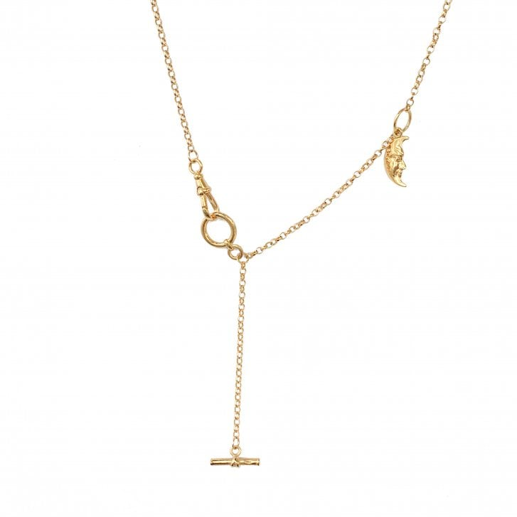 Gold Plated Silver Fov Chain with Moon Charm