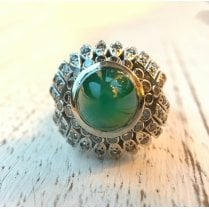Green Chalcedony and Diamond Cocktail Ring