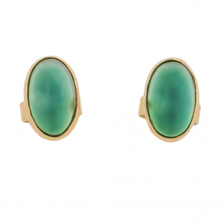 Green Chalcedony Oval Studs