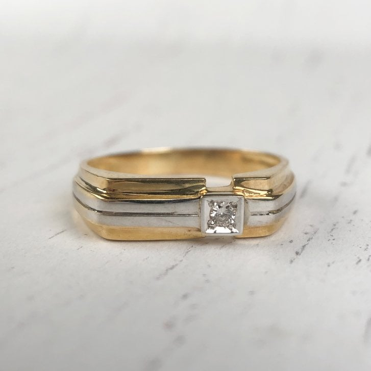 Grooved Diamond Signet Ring in Two Tone Gold