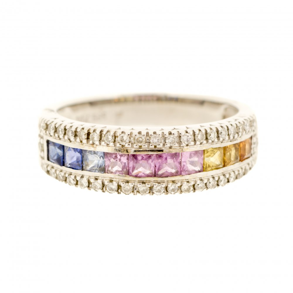 diamond sapphire gold and large eternity context half ring p anniversary band bands