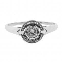 Halo Diamond Ring with Buckle Shoulders in Fairtrade Gold