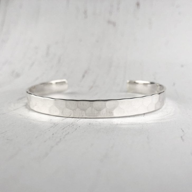 Hammered texture Silver bangle