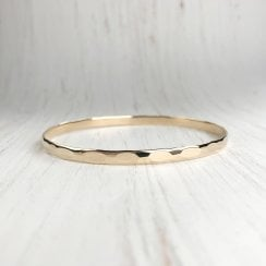 Hammered Yellow Gold Bangle