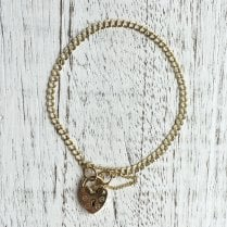 Heart padlock bracelet with double curb link