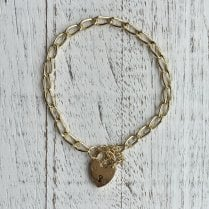 Heart padlock bracelet with long links
