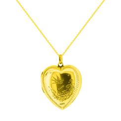Heart Shaped Locket with Swollow and Nature Motif Pendant