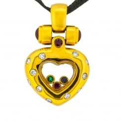 Heart Shaped Trapped-Gem Pendant