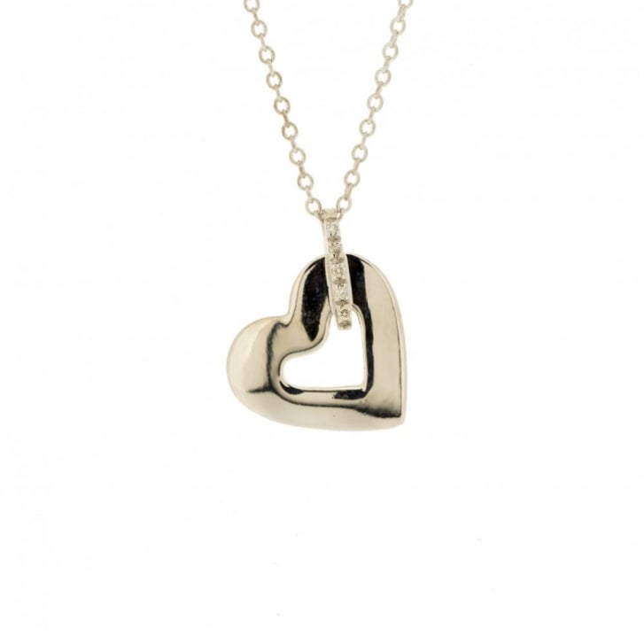 Heart with Diamond Line Necklace