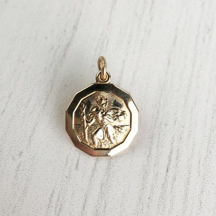 Hectagonal St.Christopher Pendant in 9Ct Gold