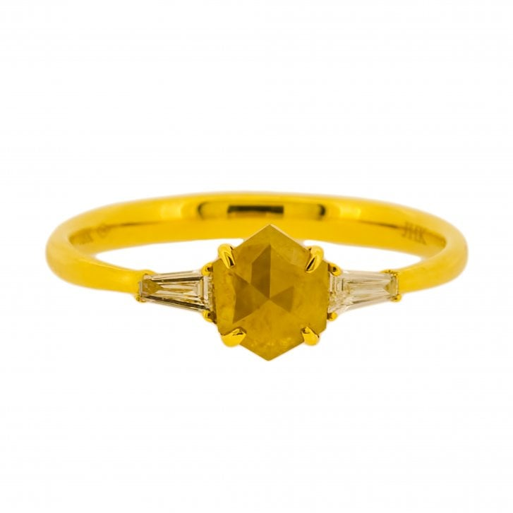 Richard Woo Hexagon Diamond Ring with Tapered Baguette Accents