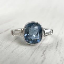 Iolite and Diamond Three Stone Ring