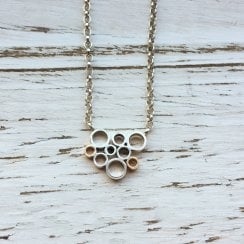 9ct gold and silver disc necklace
