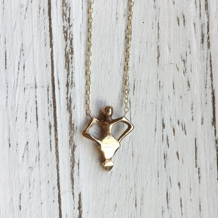 Issy White Bronze and Gold Dancingman Necklace