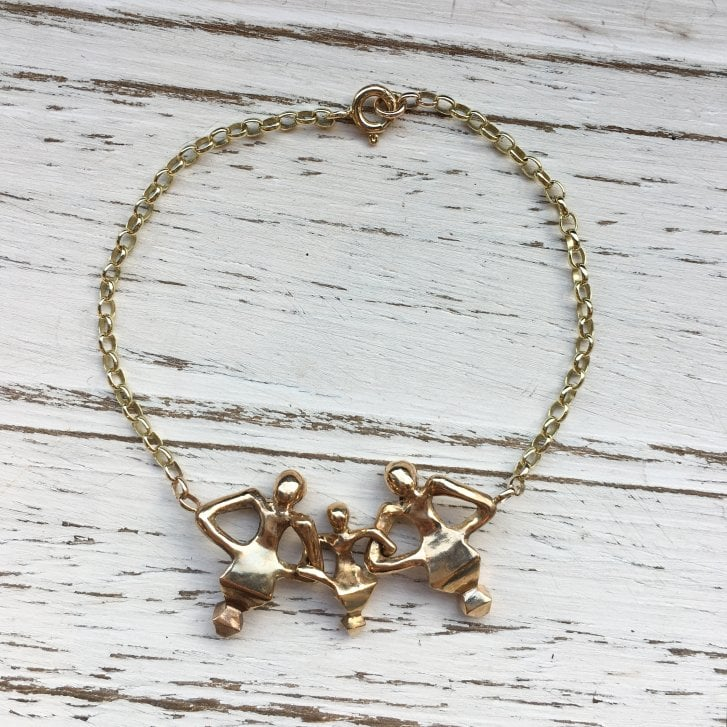 Issy White Bronze and gold triple Dancing man bracelet