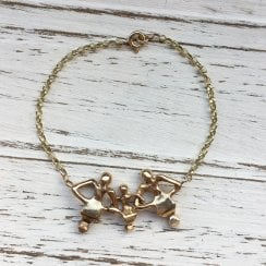 Bronze and gold triple Dancing man bracelet