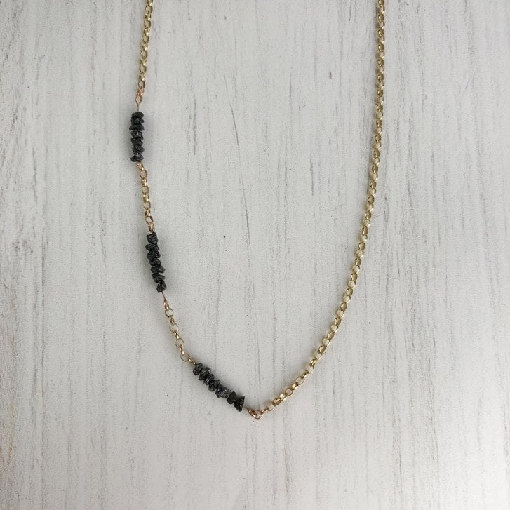 Issy White rough black diamond necklace
