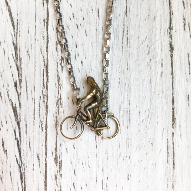 Issy White Sterling Silver and Bronze Cast 'Cycling Man' Necklace