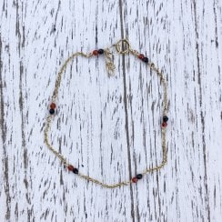 black spinel and carnelian labradorite chain bracelet