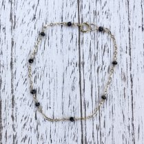 Black spinel and gold filled chain bracelet