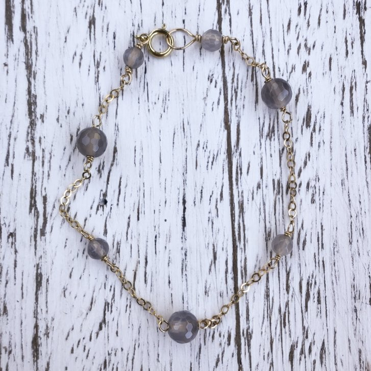 Karen Morrison Grey Agate and gold filled chain bracelet