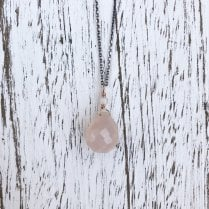 Karen Morrison Rose Quartz Briolette Drop on Silver Chain