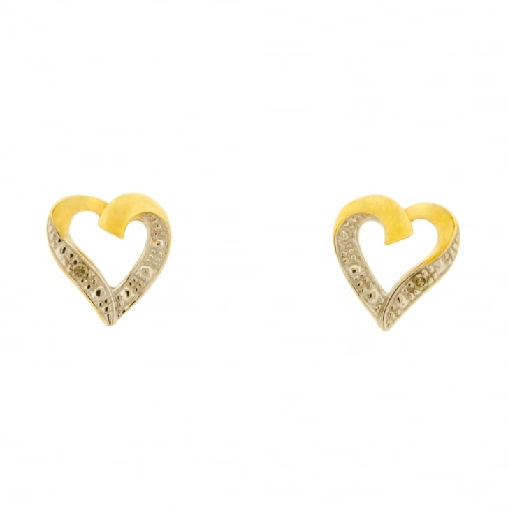 Laced Open Heart with Diamond Accents Stud Earrings