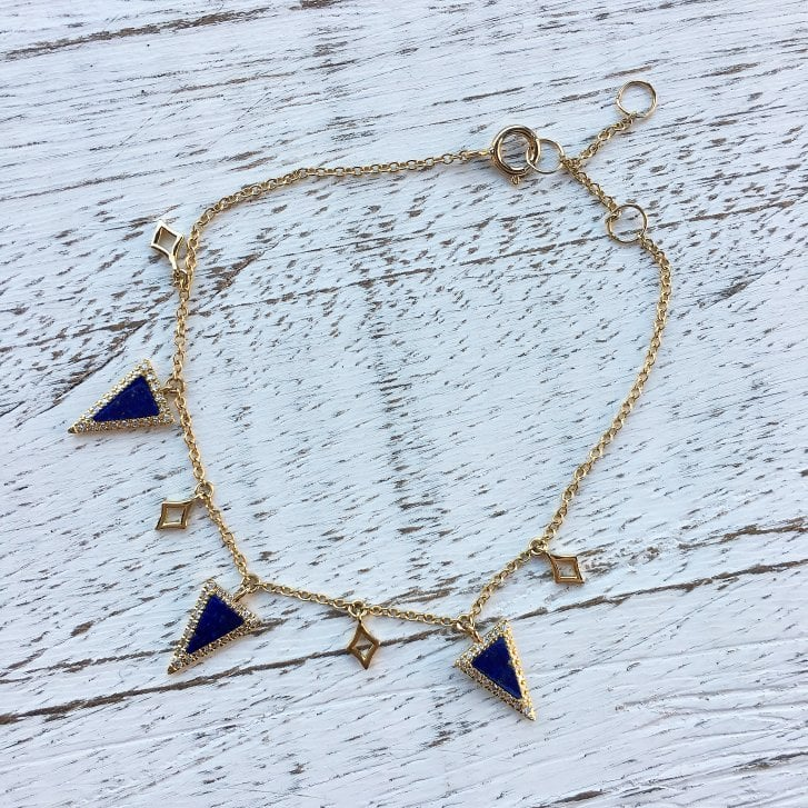 Richard Woo Lapis and Diamond Adjustable Bracelet