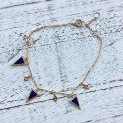 Lapis and Diamond Adjustable Bracelet