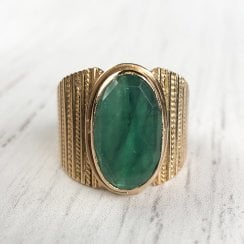 Large Emerald Dress Ring with textured Gold Band