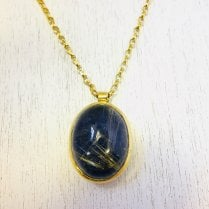 Large Oval Lapis and Rutile Quartz Necklace