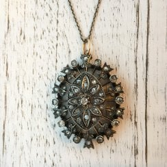 Large Pierced Pendant with Old Cut Diamonds