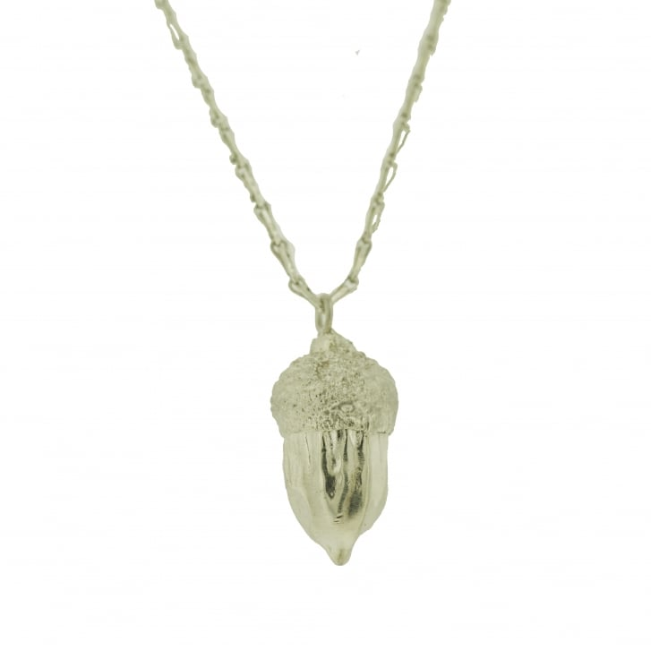 Issy White Large Silver Acorn Necklace