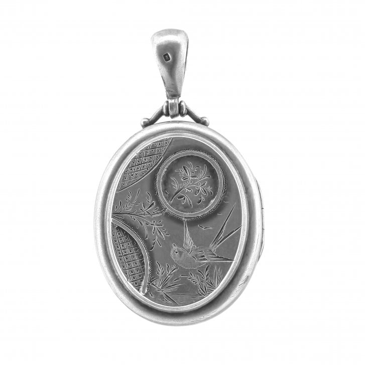 Large Victorian Locket with Bird and Floral Engraving