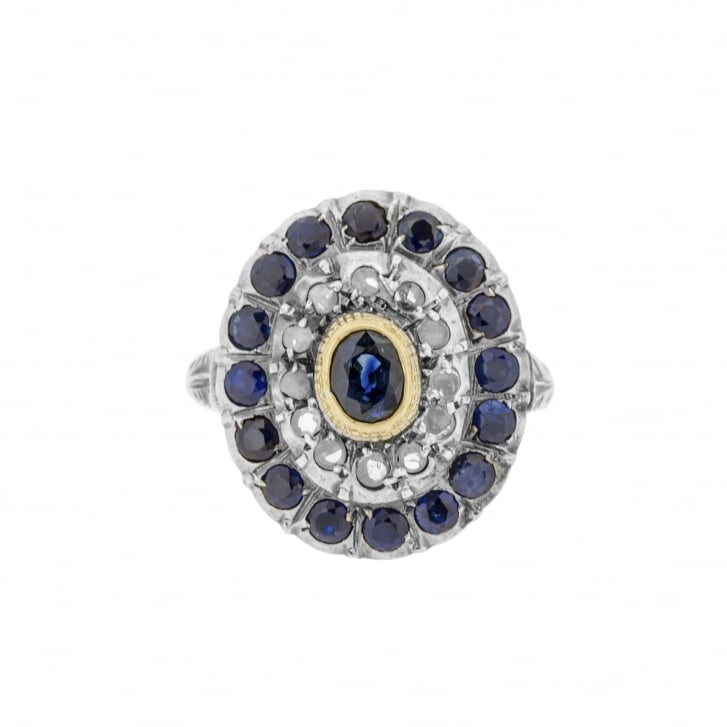 Large Victorian Sapphire and Diamond Cluster Ring