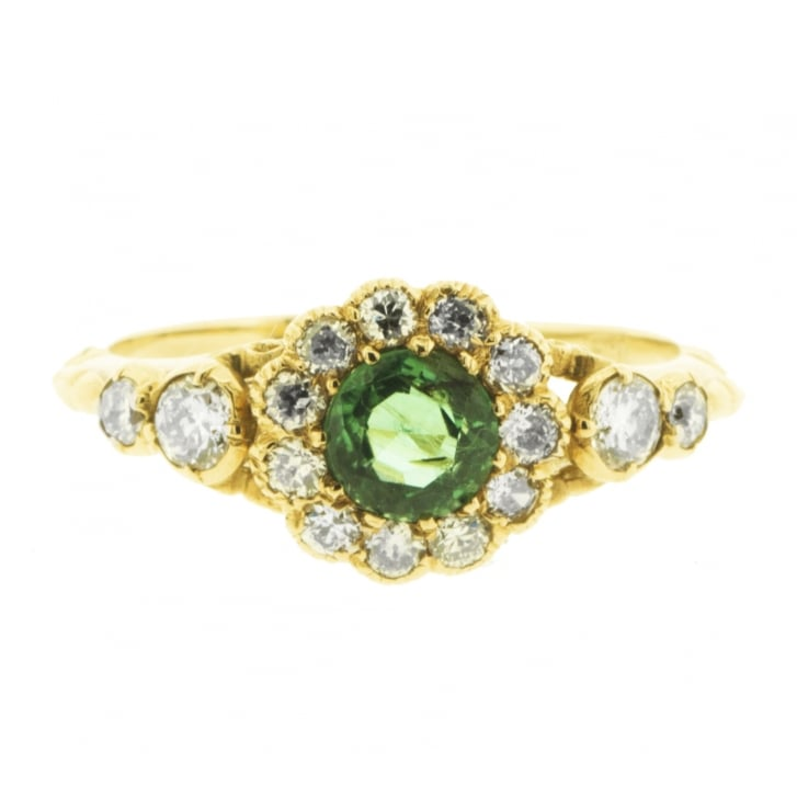 Late Victorian Emerald Set in Diamond Cluster Carved Ring