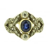 Late Victorian Sapphire and Diamond Floral Ring