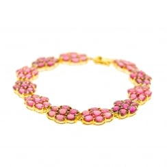 Light and Dark Pink Tourmaline Floral Motif Bracelet