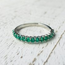 2mm Platinum Emerald Half Eternity