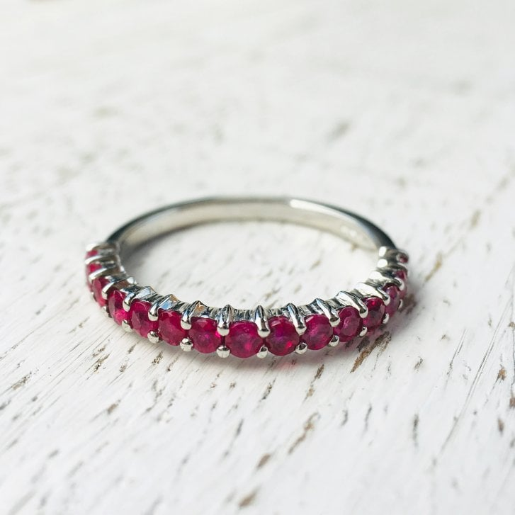 Lila's 2mm Platinum Ruby Half Eternity
